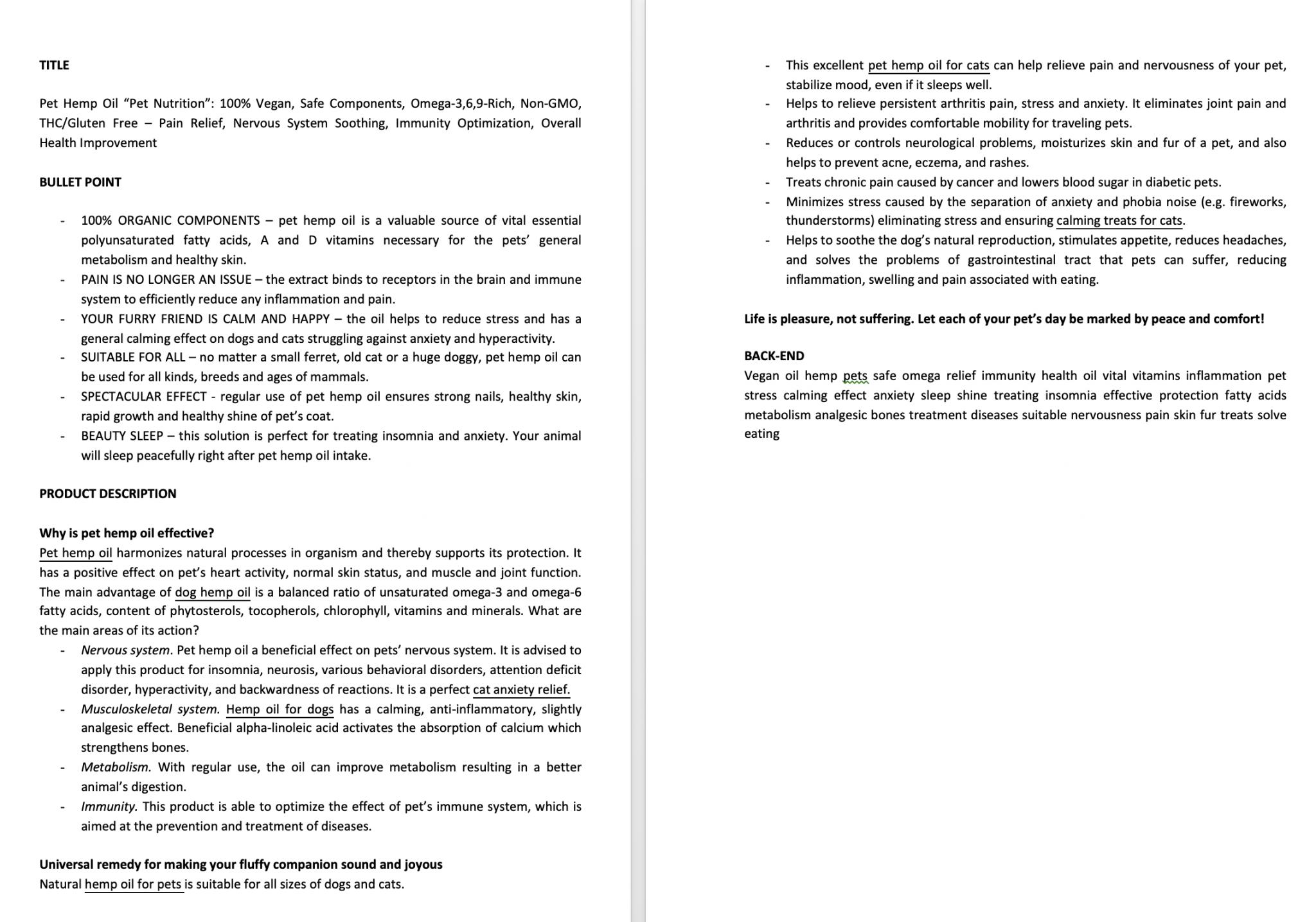 Пример текста на английском №43 – Написание текста на английском языке для листинга на Amazon.
