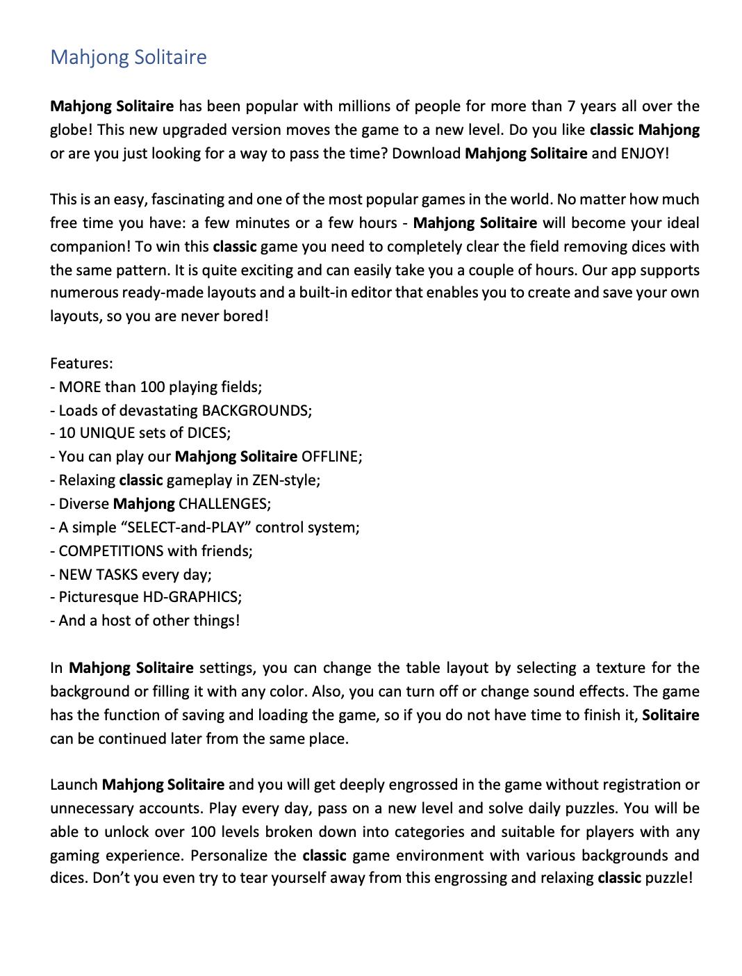Пример текста на английском языке #65 -Текст на английском для Mahjong Solitaire